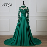 ADLN Modest Long Sleeves Evening Dress with Open Back Custom Made A line High Neck Green Taffeta Formal Party Gown