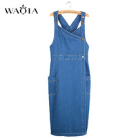 Brand Spring Summer Women's Dress Denim Jeans Mid Long Button Slim Elegant Pleated Dresses Women Split Sundress Denim Vestidos