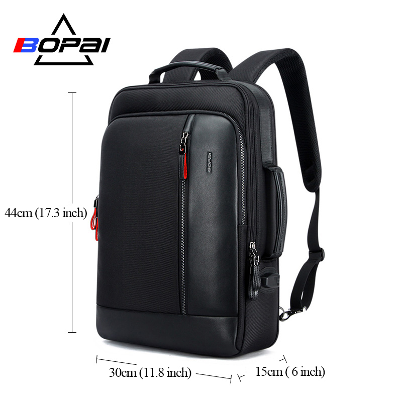 Image 5 - BOPAI USB Charge Bagpack Men Black Leather Backpack School Bags Hidden Pocket Anti Theft Backpack Men Laptop Backpack sac a dos-in Backpacks from Luggage & Bags