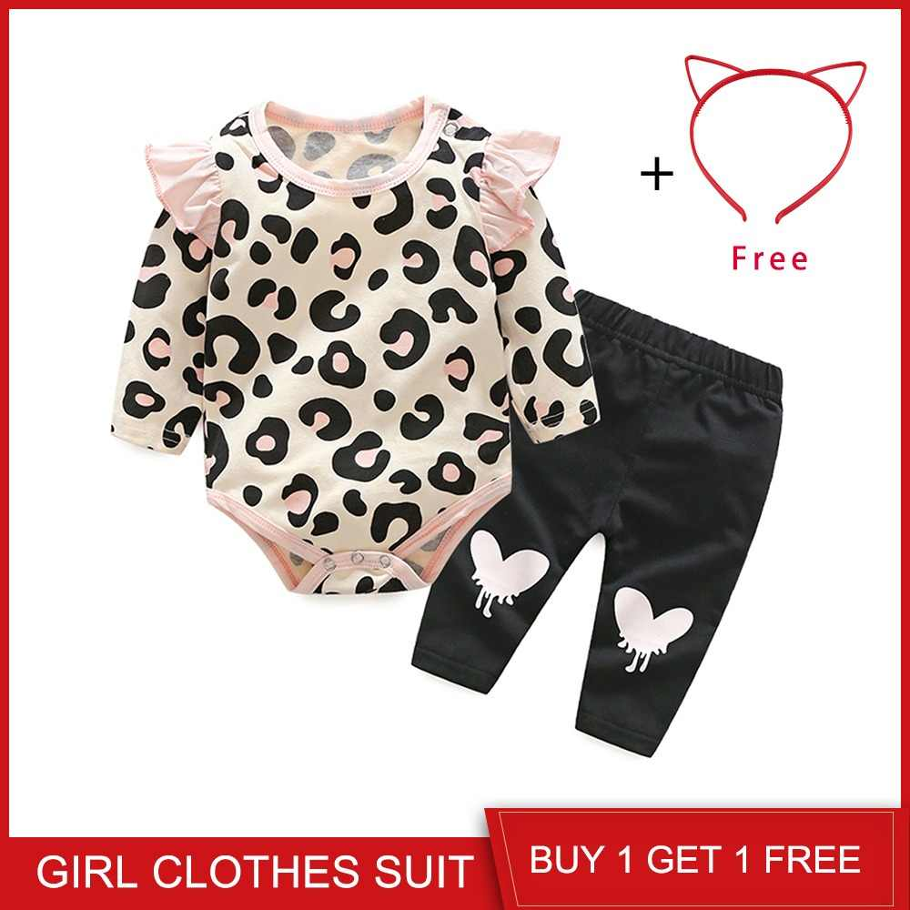 3e689ae5d Top and Top Baby Girls Clothes Set 2018 Autumn Newborn Baby Girl Clothing  Leopard Print Rompers