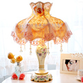 The new lamp bedroom bedside lamp European-style garden style wedding gift ideas wedding decorative cloth dimming