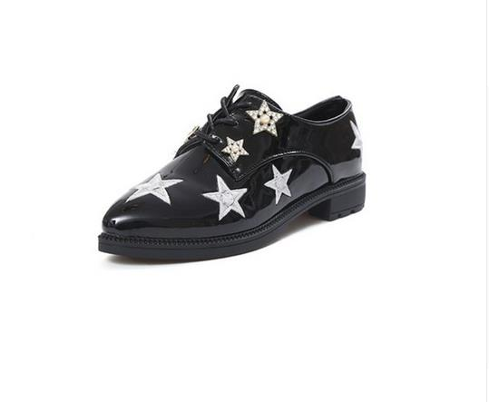 2017 Spring Flats Patent Leather Women Shoes Stars Crystal Pointed Toe Lace-Up Solid Casual  Loafers Ladies Shoes- 35-39 2016 new women s fashion shoes spring summer style casual flats lace up pointed toe leather plus size 35 41 loafers for girls