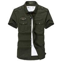 Men Shirt Short Sleeve Cotton Casual Shirt Luxury Brand Spring Summer Style Shirt Men Military Slim