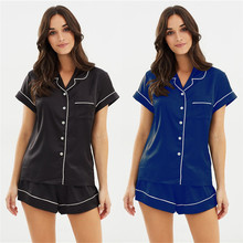 2019 Women Silk Satin Plain Sleepwear Babydoll Lingerie Nightwear Shorts Pjs Pyjamas Set