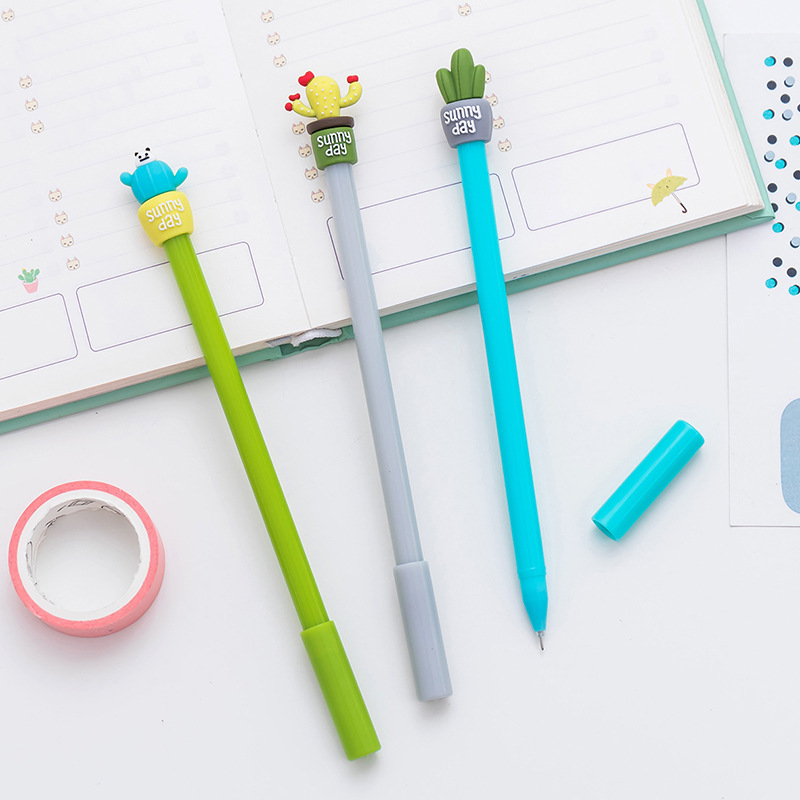 0 5mm Cute Kawaii cactus Gel Pen Signature Pens Escolar Papelaria For Office School Writing Supplies Stationery Gift in Gel Pens from Office School Supplies
