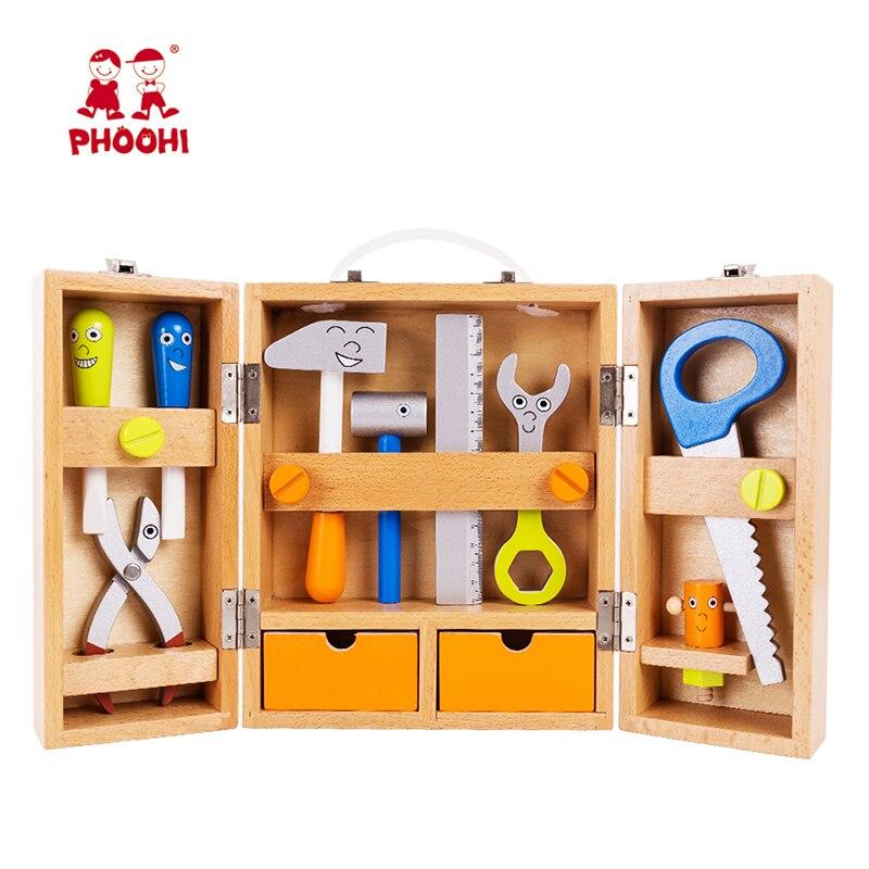 Offen Holz Werkzeug Kit Set Spielzeug Baby Reparatur Simulation Faltbare Tragbare Pretend Play Werkzeug Box Für Kinder Phoohi