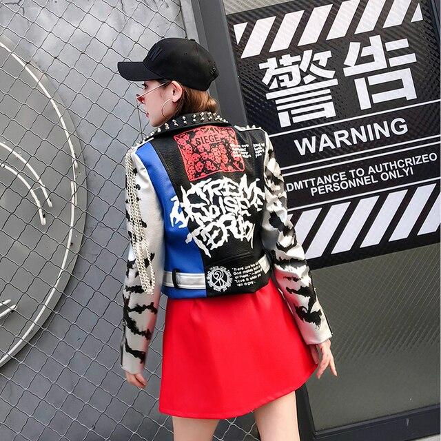 LORDXX Jacket Autumn Women Long Sleeve 2018 Fashion Stud Turn-down Collar Faux Leather crop Jackets ladies Zipper Coat Tops 2