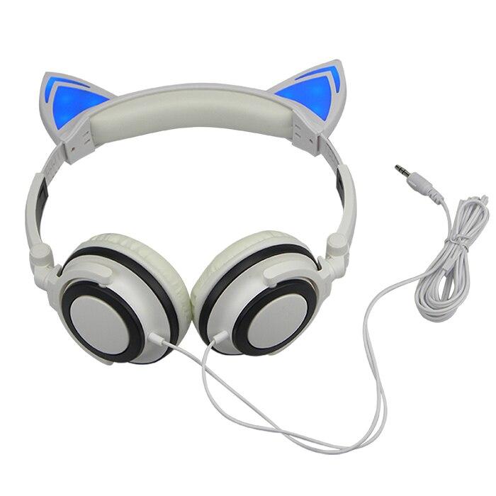 New LED Cat Ear Wired Cute Headphone, Luminous Earphone Headset With ...