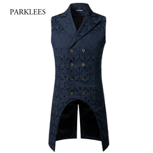 Mens Gothic Steampunk Vest 2019 Brand New Medieval Jacquard Double Breasted Vest Waistcoat Men Stage Cosplay Prom Costume XXXL