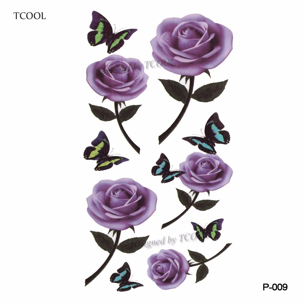 TCOOL Butterfly Flower Temporary Tattoo Sticker Waterproof Fashion Women Arm Fake Body Art 10.5X6cm Kids Adult Hand Tatoo P-009