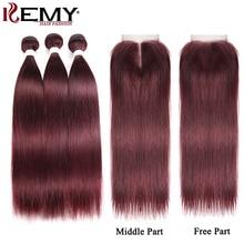 99J/Burgundy Red Human Hair Bundles With Closure KEMY HAIR Brazilian Straight Non-Remy Hair Weave Bundles 3 Bundles With Closure