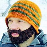 10 Cores Interessante Malha Chapéus Para Mulheres Dos Homens do Algodão Novo Acrílico Handmade Gorros Skullies Tampas Barba Criativo Engraçado dos homens