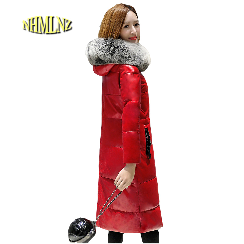 Winter Hooded Genuine Leather Jacket 2018 New Fashion High quality Comfortable Leather Jacket Large size Women Down Leather LH15