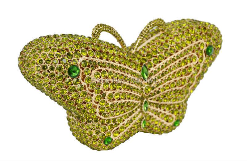 Изумрудная бабочка прекрасный клатч с камнями зеленый коктейльный вечерние сумочки Дамская Вечерняя сумка для выпускного вечера женская сумочка сумка для банкета sc457-B
