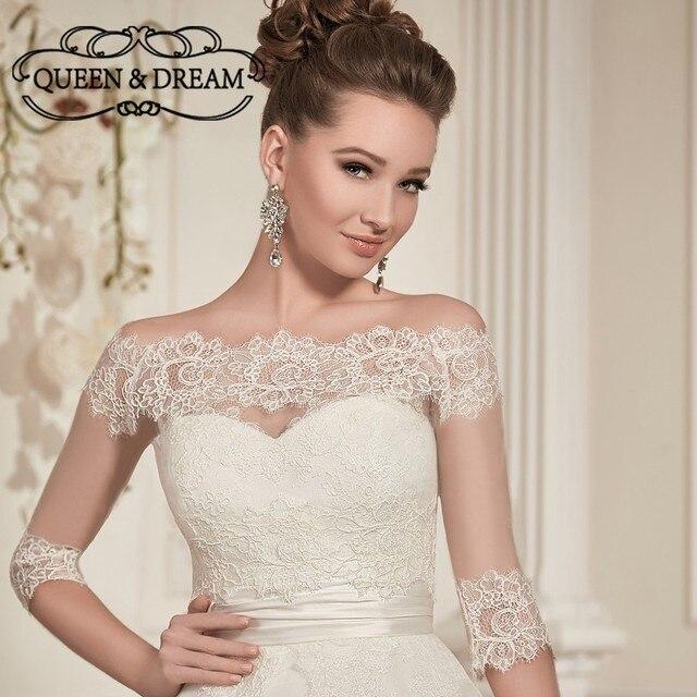 Elegant Lace Wedding Bolero Jacket Bateau Neck Long Sleeve ...