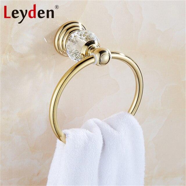 Leyden lujo caliente Toalla de cristal plata oro anillo de toalla redondo  pared toallero barra c02d24447888