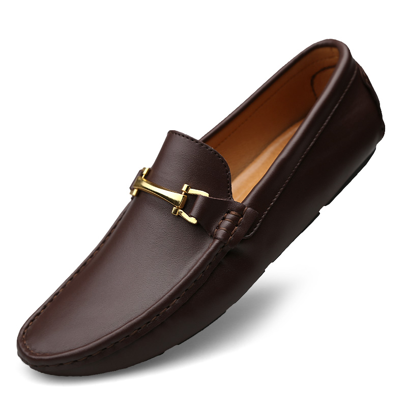 Fashion Men Split Leather Loafers Slip on Luxury Man Flats Casual Shoes Brown Coffee Spring Autumn Male Driving Shoes 2018 new men casual shoes man spring autumn loafers england fashion zapato breathable slip on flats