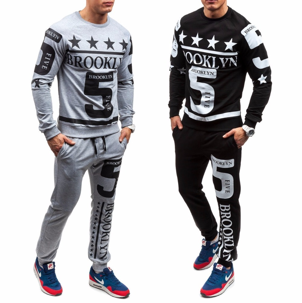 Zogaa 2019 New Fashion Casual Set Gyms Workout Fitness Sets New Men's Sets Tops +pants Men Brand Clothing Two Pcs Suit Tracksuit