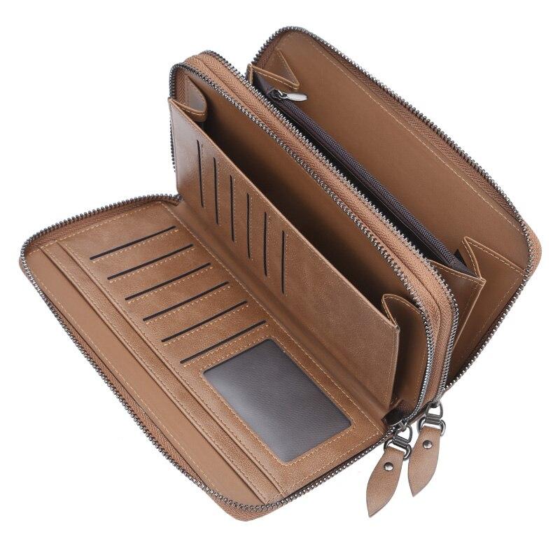 Baellery Long Wallet Men Double Zipper Coin Pocket Purse Men Wallets Casual Business Card Holder Vintage Large Wallet Clutch in Wallets from Luggage Bags
