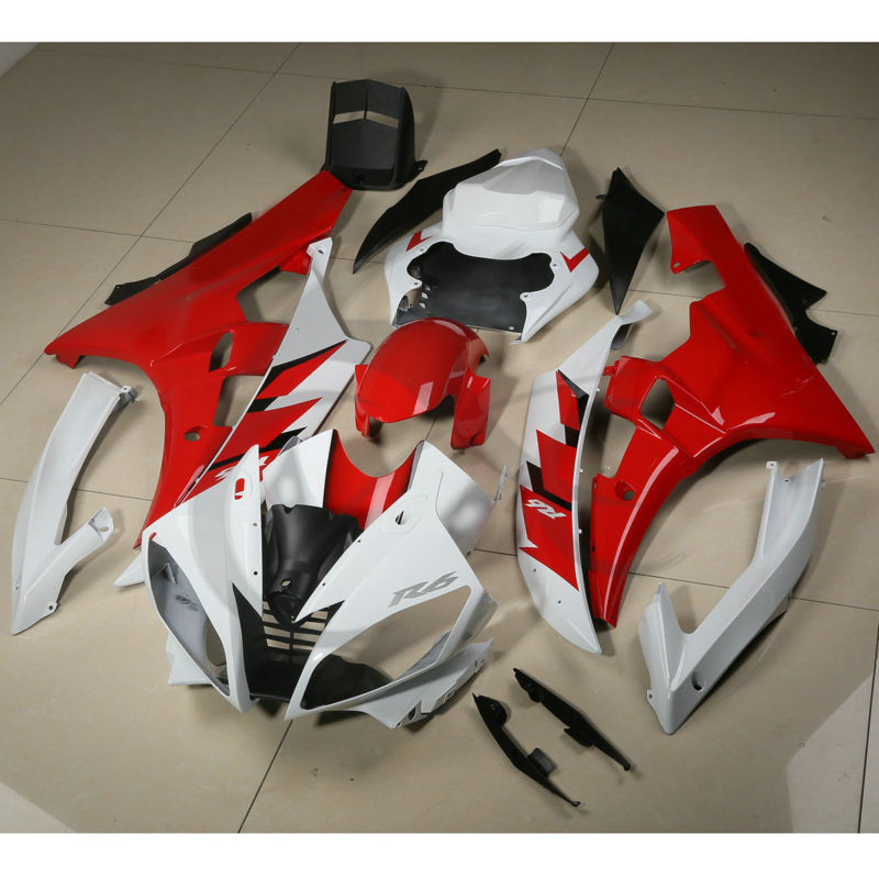 Red White ABS Fairing Bodywork Set For YAMAHA YZF R6 YZF-R6 2006 2007 06-07 19A high quality abs fairing kit for yamaha r6 1998 1999 2000 2001 2002 yzf r6 yzf r6 98 02 yellow white black fairings set nx27