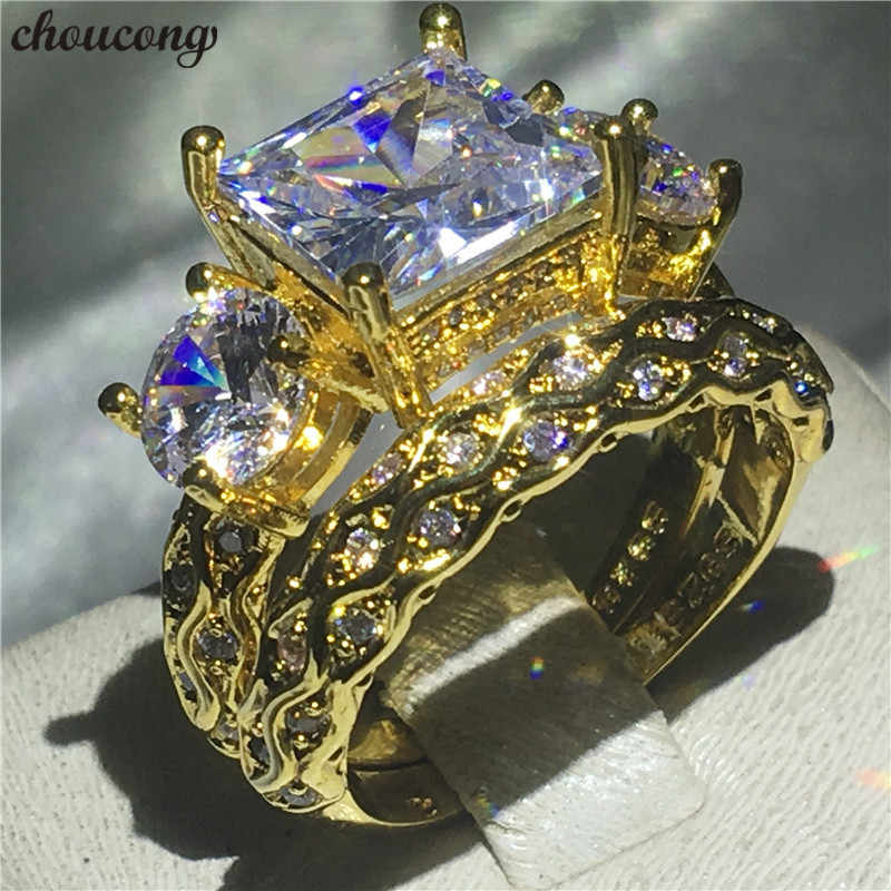 choucong Vintage Ring set Yellow Gold Filled Three-stone AAAAA cz Engagement Band Rings For Women men Wedding Jewelry Bridal set