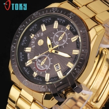 Excellent Quality OTOKY Watch Men Women Luxury Black Dial Gold Stainless Steel Date Quartz Watches Relogio