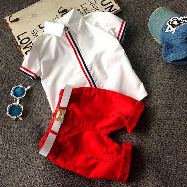 Nuevo 2016 ropa de los niños del muchacho del verano de Niño trajes Fija la camisa cortocircuitos Del Bebé de dos piezas conjuntos de Los Niños trajes casuales Con un cinturón