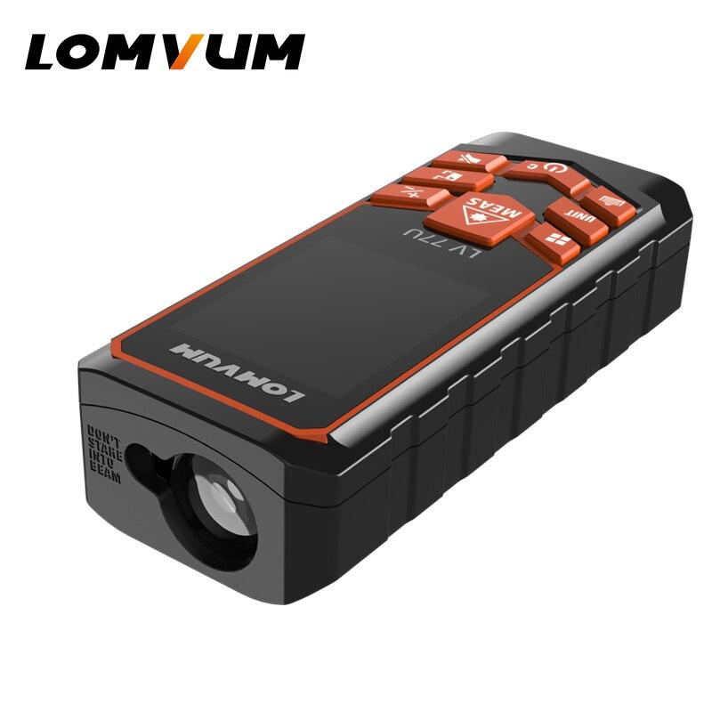 Tools : LOMVUM USB Charging 77U Trena Laser Rangefinder English Voice Digital Laser Distance Meter Electrical Tape Measuring Tools 120M