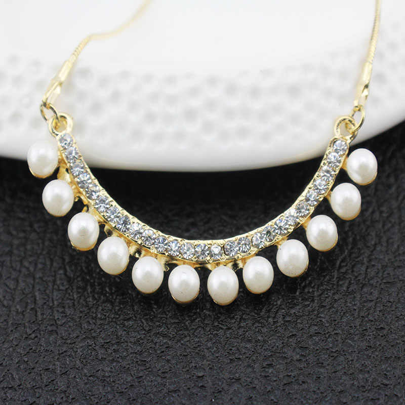 jiayijiaduo African popular wedding jewelry set imitation pearl pendant set gold-color necklace earrings women clothing gifts