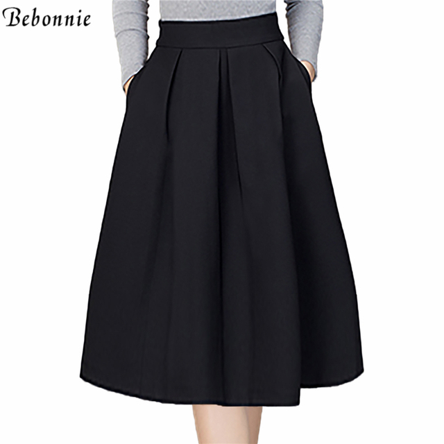 f5a313127 Plus Size Skirt High Waisted Skirts Womens Knee Length Bottoms Pleated Skirt  Purple Red Grey 2017