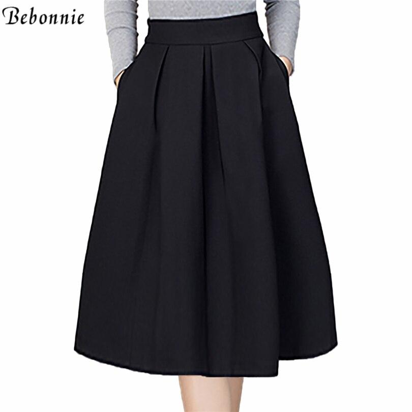 2017 new fashion black skirts womens high waist skirts