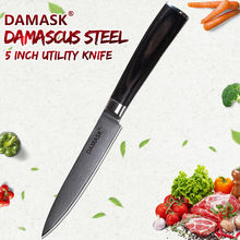 DAMASK Utility Knives 5 inch Damascus Chef Knife Stainless Steel Cooking Knives Fruit Sushi Cleaver Kitchen Knives Utensils Tool(China)