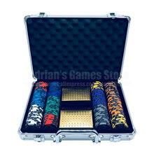 200 шт классический пшеничный мир серии покерные фишки набор с 2 палубами пластиковые игральные карты и чемодан казино жетон Fichas Poker