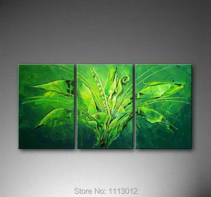 Green Modern Original Banana Tree Oil Painting On Canvas
