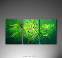Green Modern Original Banana Tree Oil Painting On Canvas Digital Art 3 Panel Set Home Wall Pictures For Living Room Decoration