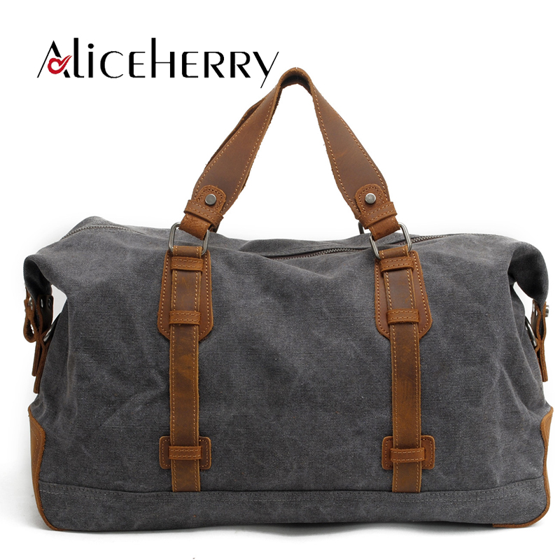 Leather Travel Bag Large Capacity Men Luggage Travel Duffle Bags Canvas Boston Weekend Bags Multifunctional Travel Bags