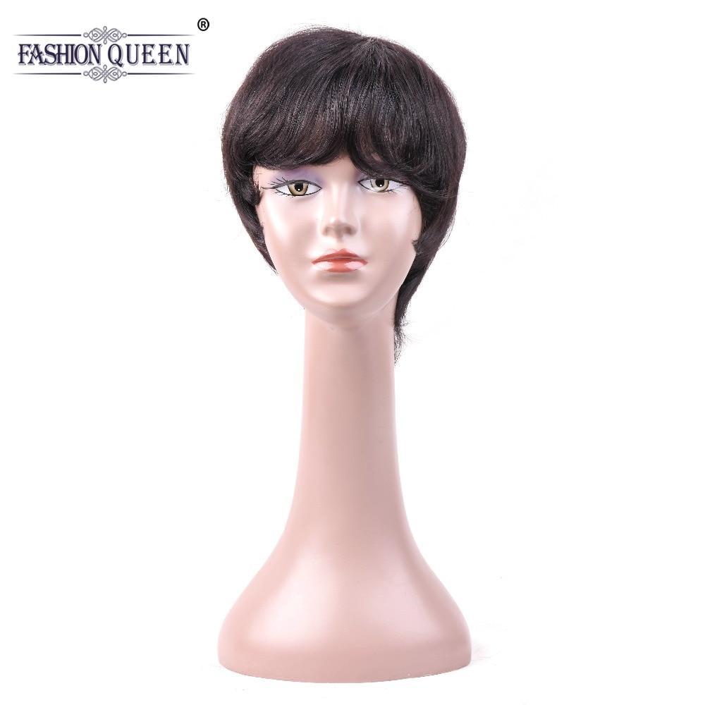 Модные queen прямой короткий человеческих волос парики с ребенком волос взрыва прямая парик человеческих волос для Для женщин натуральный Цв...