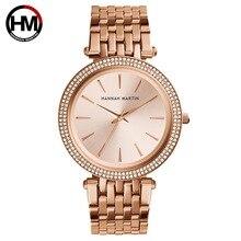 Relojes de movimiento de cuarzo de lujo para mujer, de negocios, de acero inoxidable, esfera de diamante, resistente al agua, relojes de pulsera para mujer