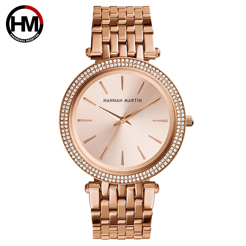 Women Top Brand Luxury Quartz Movement Watches Fashion Business Stainless Steel Diamond Dial Waterproof Ladies Wristwatches-in Women's Watches from Watches