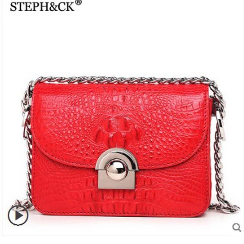 STEPH&CK crocodile leather cross body bag lady leather bag European and American fashion single shoulder bag handbag shoulder