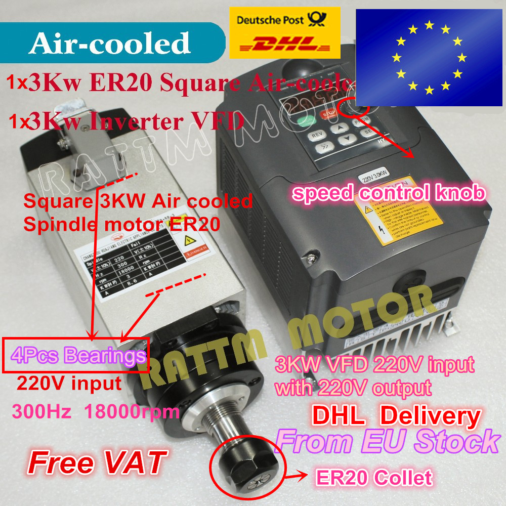 Square 3KW Air Cooled Spindle motor 4 Bearings & 3kw VFD Inverter variable frequency drive 220V CNC Router Engraving Milling 4pcs ceramic bearings 3kw 220v air cool spindle er20 cnc milling machine spindle motor