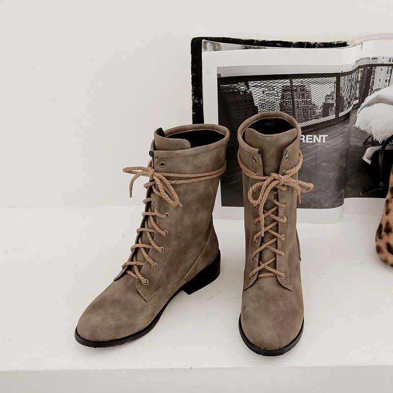MoonMeek büyük boy 34-46 moda yarım çizmeler kadınlar için yuvarlak ayak sonbahar kış çizmeler çapraz bağlı med topuklar ayakkabı kadın botları