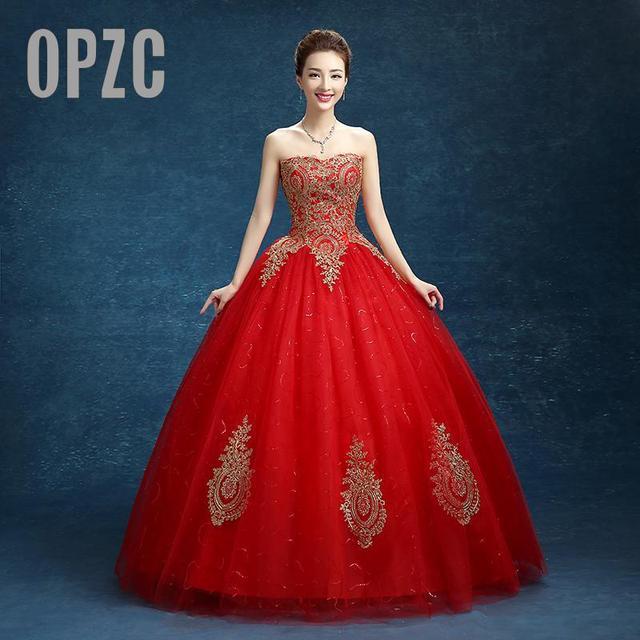 65aacd9e123e Real photo Principessa Ricami In Oro Rosso Vestito Da Cerimonia Nuziale 2016  vestido de noiva Abito