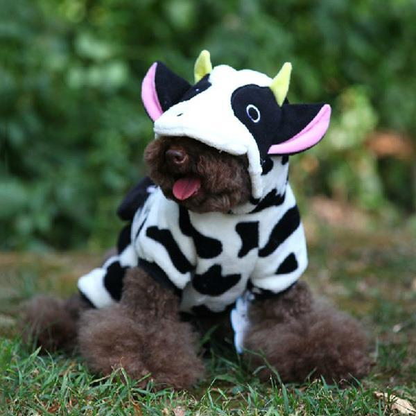 Cow Fleece Costume Jumpsuit Coat Hoo Clothes For Pet Puppy Dog Xs S M L Xl Large Hot In Coats Jackets From Home Garden On Aliexpress