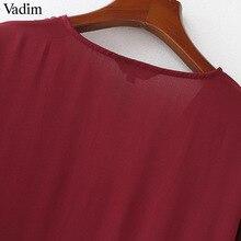 Vadim elegant V neck pleated long chiffon blouse long style long sleeve sweet shirts ladies casual chic tops blusas LA178