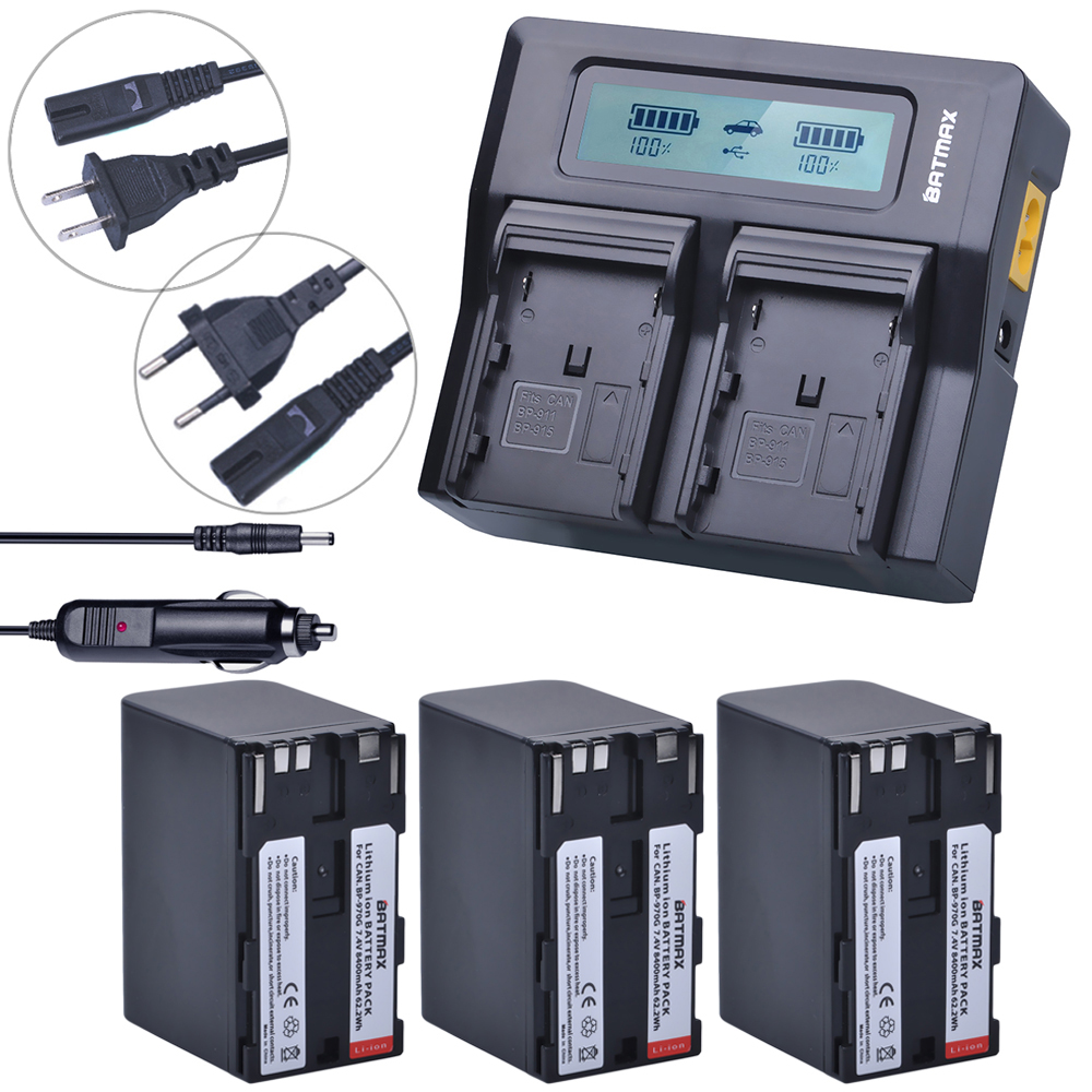 3Pcs 8400mAh BP-970G BP970G BP 970G Camera Battery + Fast LCD Dual Charger for Canon XLH1 XHG1 XHA1 XL2 XM2 XH G1S XF305 XF300 canon bp 970g