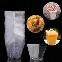 20 штук прозрачная мини трапециевидная десертные чашки, Кухня аксессуары чашки мусс Желейный пудинг стакан для Тирамису вечерние контейнер для торта