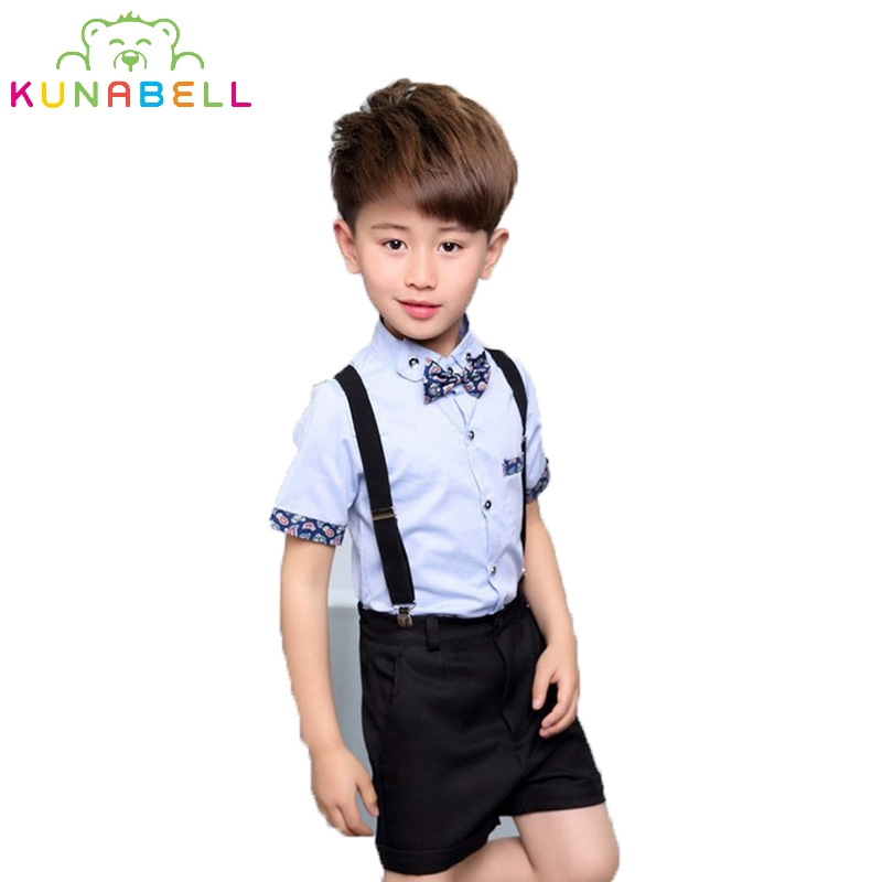 Brand Birthday Dress Uniform 2Pcs Bow Tie T-Shirt + Overalls Gentleman Performance Baby Boys Suit Children Costume Clothes F40