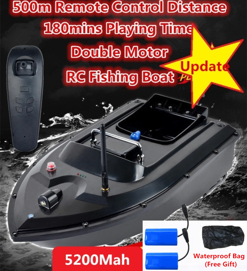 Saco livre Auto RC Brinquedo de Controle Remoto Barco De Pesca de Isca 180 Mins 500 m Longa Distacne RC Do Motor Duplo Peixe localizador de Navio Barco Lancha