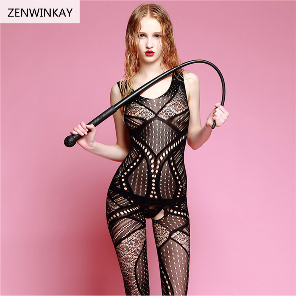 Erotic Lingerie Womens Porno Sex Adult Costumes Sexy Body Stocking Open Crotch Mesh Fishnet Sexy Transparent Woman